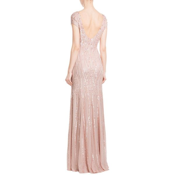 JENNY PACKHAM Bead and Sequin Embellished Floor Length Silk Gown (1.814.870 CLP) ❤ liked on Polyvore featuring dresses, gowns, pink gown, evening cocktail dresses, pink cocktail dress, pink evening gowns and floor length evening gown