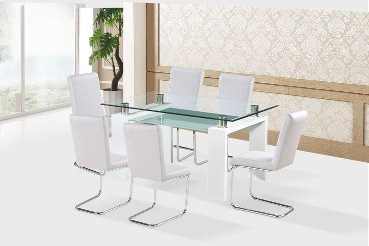 Dinar étkezőasztal fehér+Waterloo fehér szék