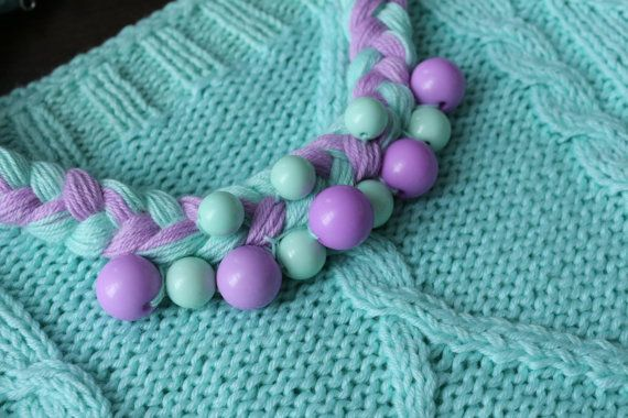 Mint and lavender necklace by KiomiStudio on Etsy