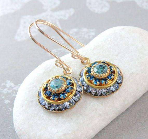 Blue Swarovski Earrings Vintage Crystal Earrings by Hildes on Etsy