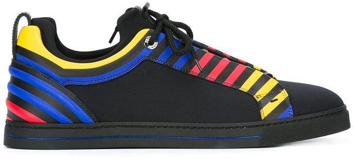 Fendi - primary colour stripe trainers - men - Leather/Nylon/rubber - 39.5