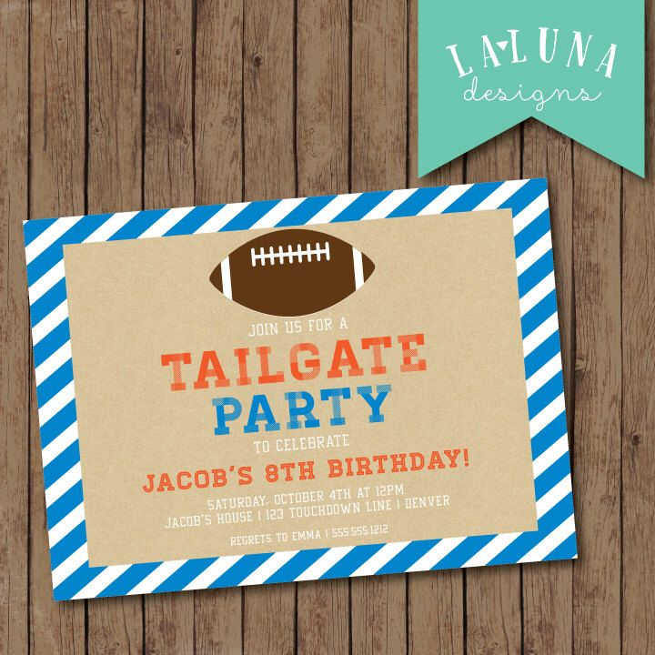 Football Invitation, Football Party Invitation, Football Invite, Football Birthday Invitation, Custom Colors, DIY Printable by LaLunaDesigns on Etsy https://www.etsy.com/listing/202248904/football-invitation-football-party