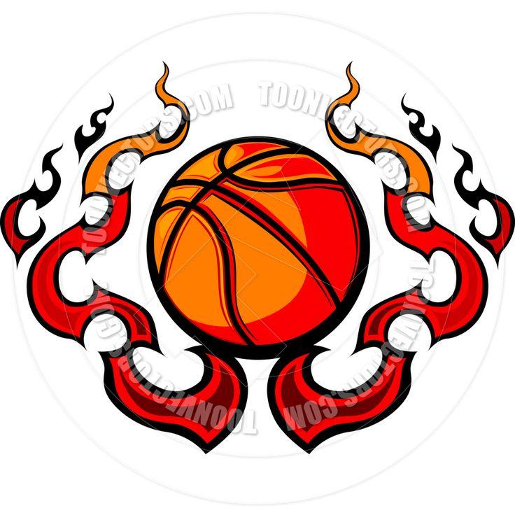 Free Printable Basketball Clip Art   Basketball Template with Flames Vector Image
