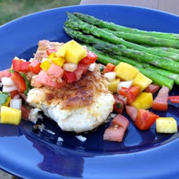 Image for Coconut Crusted Chicken with Mango Pepper Salsa...I think I have all the ingredients to make this today...Yum!