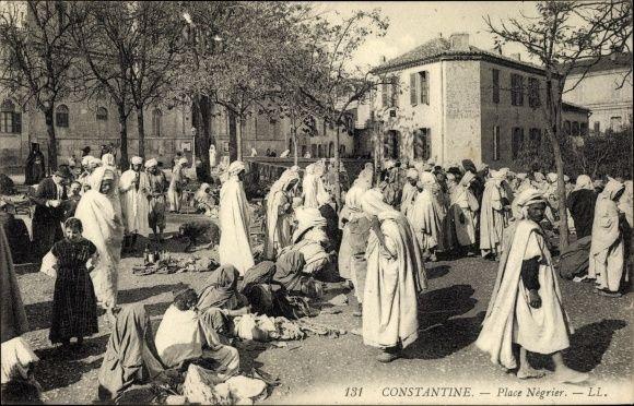 Postcard Constantine Algerien, Place Négrier, Handelsplatz