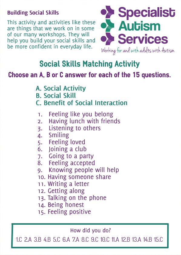 This activity is to increase understanding of social activities, social skills, and the benefits of social interaction. Things that we work on within our workshops.  www.specialistautismservices.org