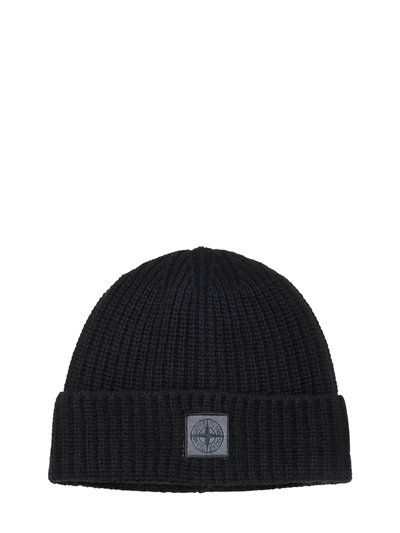 STONE ISLAND LOGO PATCH WOOL & CASHMERE BEANIE HAT, BLACK. #stoneisland #hats