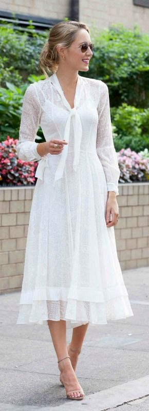 white lace midi dress with neck tie, bishop sleeves, ruffle detail + nude ankle strap heeled sandals and messy bun hairstyle {rebecca taylor, steve madden, bridal shower}