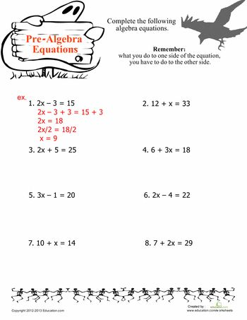 Worksheets: Easy Algebra