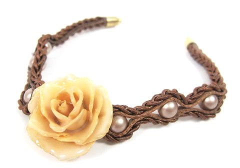 Braided Bead Bracelet real rose bracelet Sarah Blue real flower jewellery collections