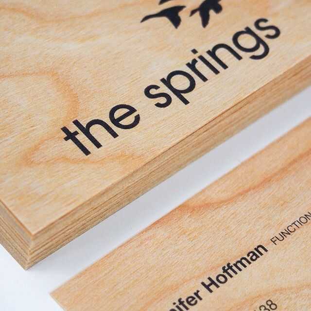 Sometimes less is more and this simple design really brings out the beautiful nature of the wood. These business cards were printed for The Sprints event and function venue on #cherrywood  #printonwood #print #design