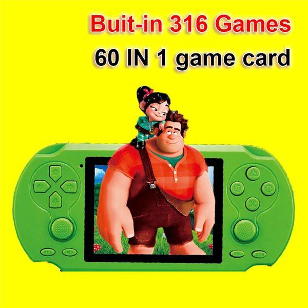 HST-808 2.pantalla de 5 pulgadas reproductor consola de juegos portátil construido en 316 juegos con 60 en 1 tarjeta de juego