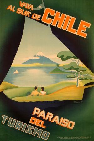 Vaya Al Sur de Chile, 1940 - original vintage poster by Isaias listed on AntikBar.co.uk