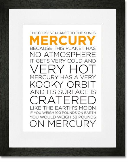 Rosenberry Rooms is offering a 10% discount on your purchase of $350 or more.  Share the news and take advantage of the savings! Mercury Facts Framed Art Print #rosenberryrooms