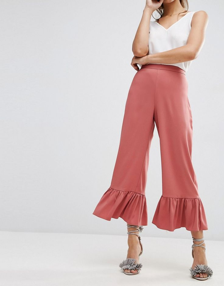Image 4 of ASOS Occasion Pants with Frill Hem