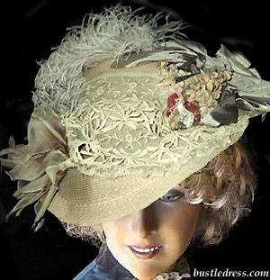 Edwardian Hat with flowers - how to make an early Edwardian (1900-1906) hat