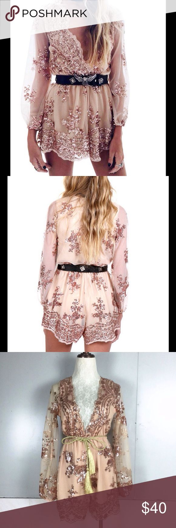 ☺Sexy Jumpsuit   Sexy rose gold sequenced  romper great for parties and special events, it's run small so take bigger then your normal size so if you normal size small take Medium if medium take large if large take XL Pants Jumpsuits & Rompers