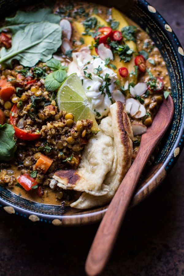 Simple Coconut Quinoa and Lentil Curry with Lime Mango | halfbakedharvest.com @hbharvest (use vegan yogurt)