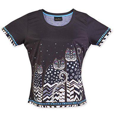 Laurel Burch Women's Shirt, Polka Dot Gatos at Amazon Women's Clothing store: