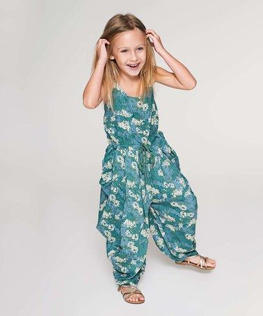 Loving this Teal Floral Jumpsuit - Toddler & Girls on #zulily! #zulilyfinds