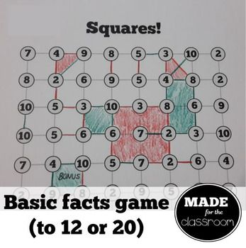 Squares - Addition facts game