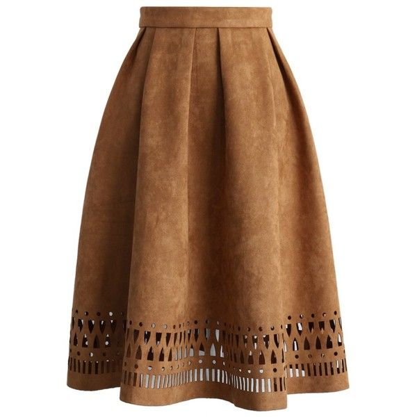 Chicwish Geo Cutout Suede Pleated Midi Skirt in Tan ($47) ❤ liked on Polyvore featuring skirts, bottoms, saias, brown, brown pleated skirt, cut out skirt, tan skirt, brown skirt and brown suede skirt