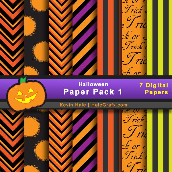 Halloween paper pack of bright designs by Kevin Hale, HaleGrafix ~ see his other coordinating Halloween paper packs too