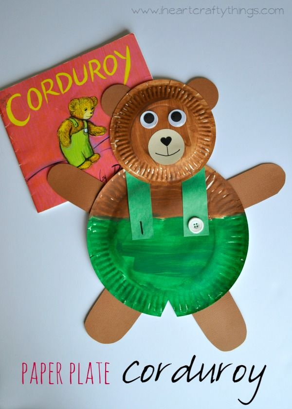 Read Corduroy and make this adorable Paper Plate Corduroy Craft to go along with it. Fun craft for kids and preschool. | From iheartcraftythings.com