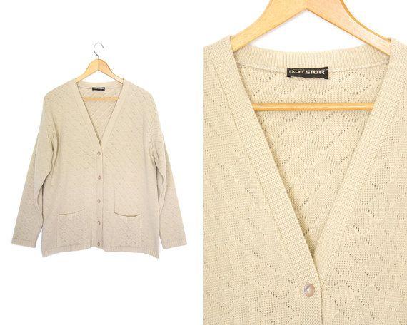 Vintage cardigan sweater. Button up. Pocket by LiveToLiveVintage
