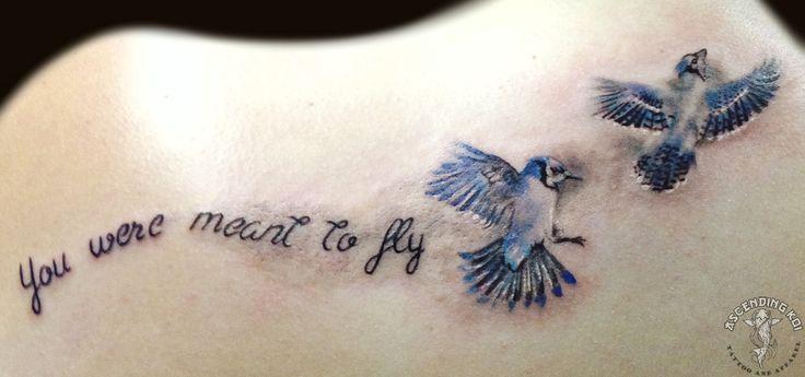 Blue Jays and script from Yvonne Koprnicky #ascendingkoi #tattoos #script #bluejays
