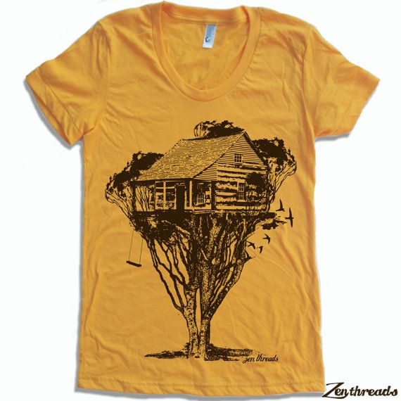Womens TREEHOUSE Cabin t shirt american apparel S M by ZenThreads, $18.00