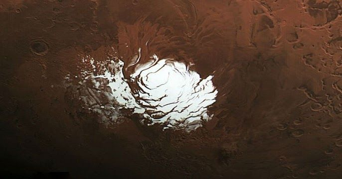 Εντυπωσιακή φωτογραφία από την παγοκάλυψη στον Νότιο Πόλο του πλανήτη Άρη