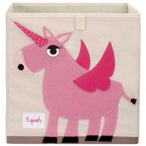 3 Sprouts - Storage Box - Pink Unicorn | Kids Storage Boxes | Village Toys