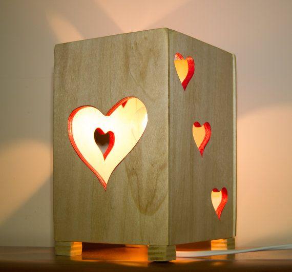 LAMPADA CUORE Abat Jour Lampada Comodino REGALO Romantico
