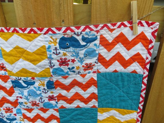 Nautical Baby Quilt Baby Quilt Whale Baby by CottontopsQuiltShop