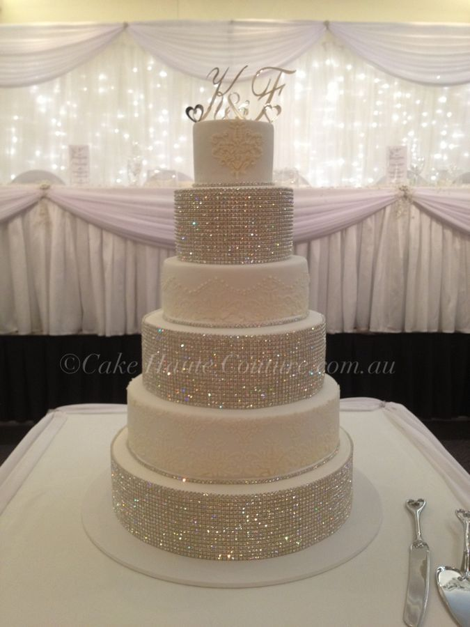 Super Bling Wedding Cake  Love the rhinestones (not sure it needs the stencils as well?)