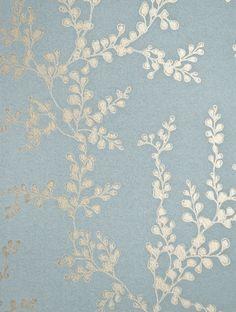 gp baker wallpaper | ... Wallpaper Metallic gilver shadow fern print on marine blue wallpaper