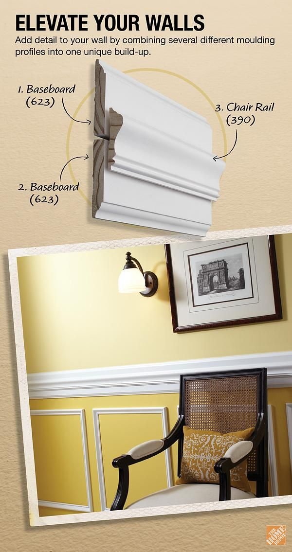 "Formal Chair Rail Build-Up Project || Create a custom look for your dining room's chair rail by simply combining various pieces of moulding into ""build-ups"". Click through for the instructions."