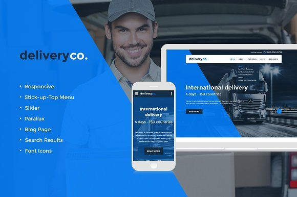 Delivery Services Website Template by Jetimpex on @creativemarket