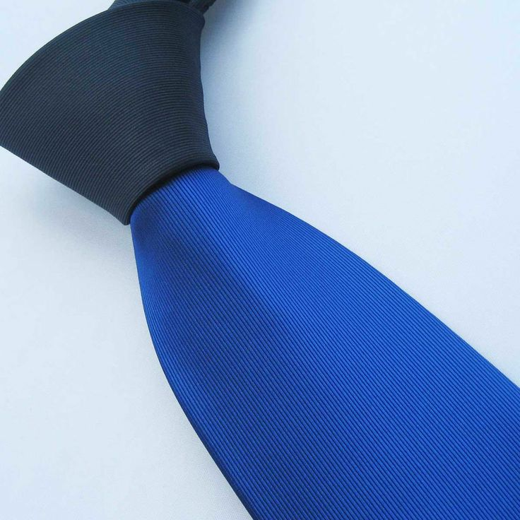 Yibei Ties Dark Navy Knot Contrast Royal Blue Two Tone