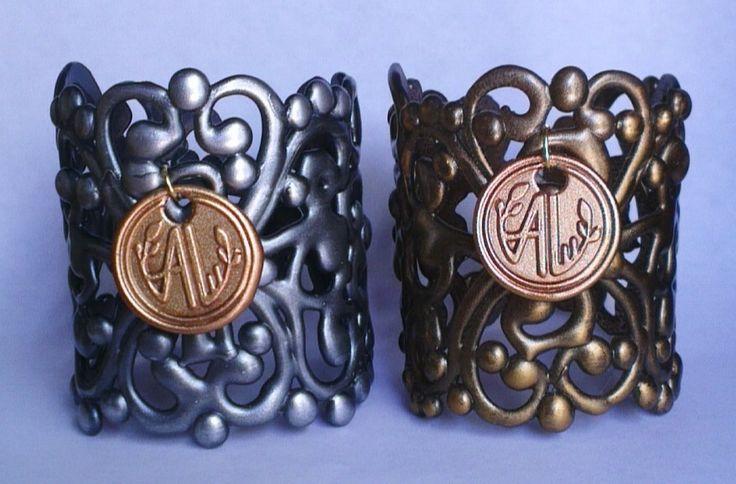 Brazaletes de Polimero Modelo COLISEO Gold and Silver Antique By ArantzaLu