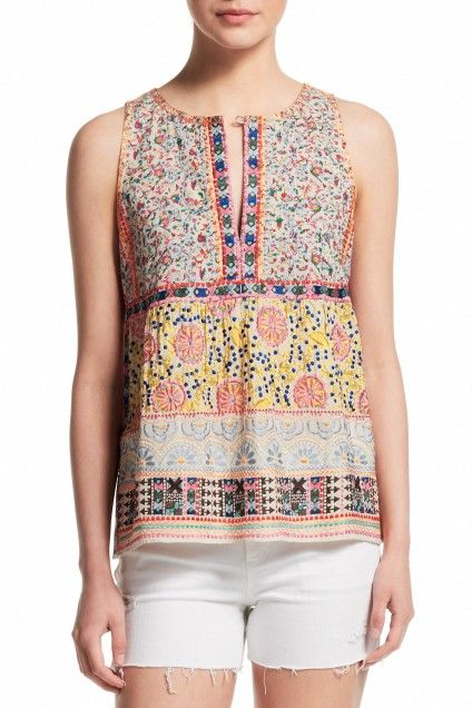 Anaba Embroidered Printed Cotton Top   | Calypso St. Barth