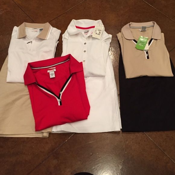 Women golf clothes bundle Basically all are new. Most still have the tags attached. My mom bought all these clothes then quit playing golf so no need to keep! All bottoms are size 12 and all tops are XL IZOD Other