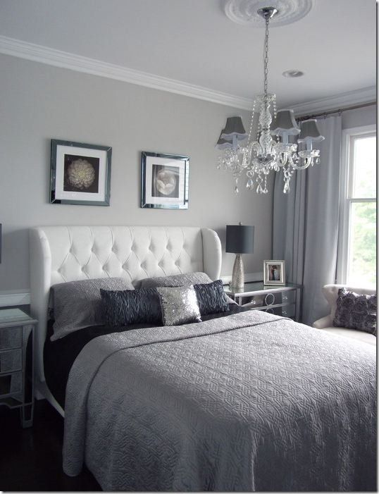 This is the Coventry Gray paint I had mentioned for your bathroom but, which gives you a good sense of its compatibility with crisp white.  But I also really like this headboard as one option for your bedroom.