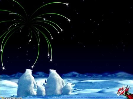 Bear Holiday Coca-Cola Wallpaper | Coca Cola Bears Fireworks - polar bear, coca cola, holiday