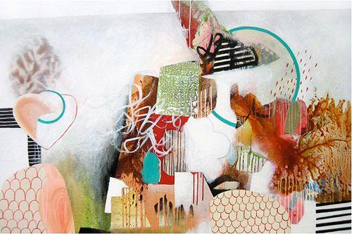 "Fiona Ackerman. A HARLEQUIN ESCAPADE Acrylic on canvas, 48 "" x 72"" / 122cm x 310cm, 2008"