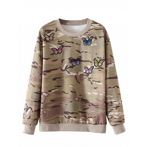 Choies Camouflage Embroidery Butterfly Long Sleeve Sweatshirt ($32) ❤ liked on Polyvore featuring tops, hoodies, sweatshirts, black, butterfly top, camouflage top, butterfly print top, embroidered top and camouflage sweatshirt