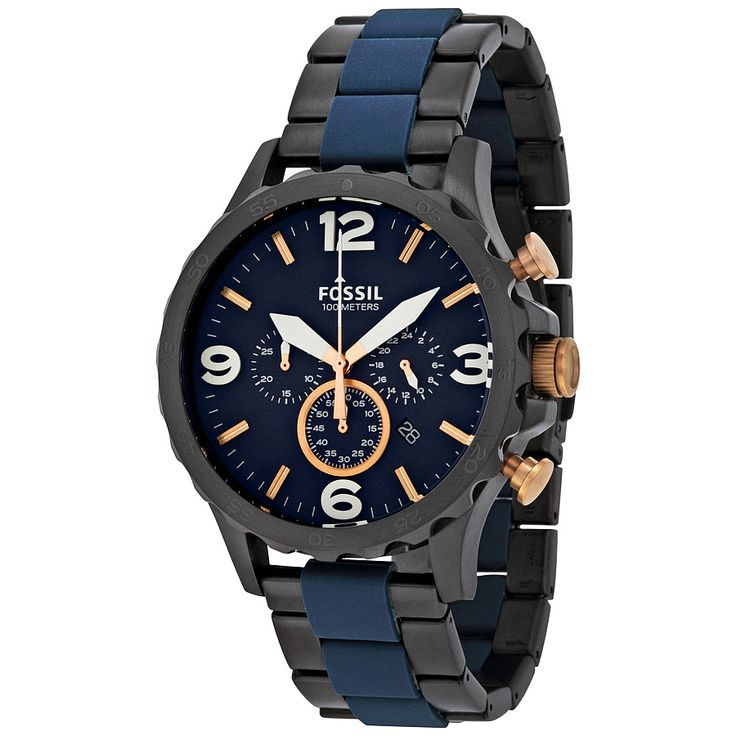 Fossil Nate Chronograph Blue Dial Men's Watch JR1494 - Nate - Fossil - Watches - Jomashop - mens silver watches, mens watches all black, luxury mens watches