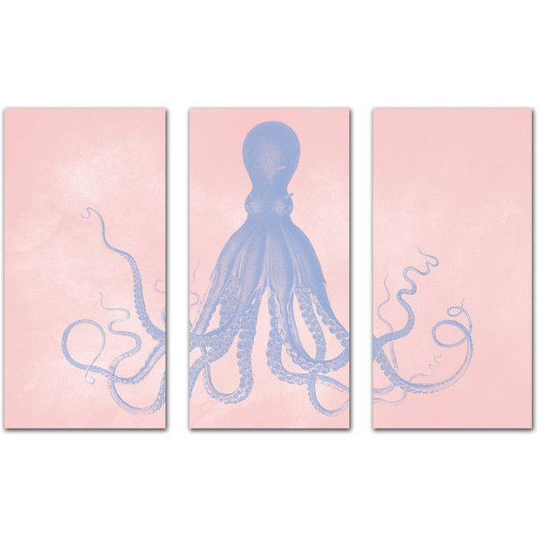 Octopus Triptych Posters, Serenity Blue and Rose Quartz Nautical Art,... (€250) ❤ liked on Polyvore featuring filler