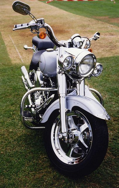 Silver Harley Davidson Motorcycle at Barnsley Custom & Classic Bike Show